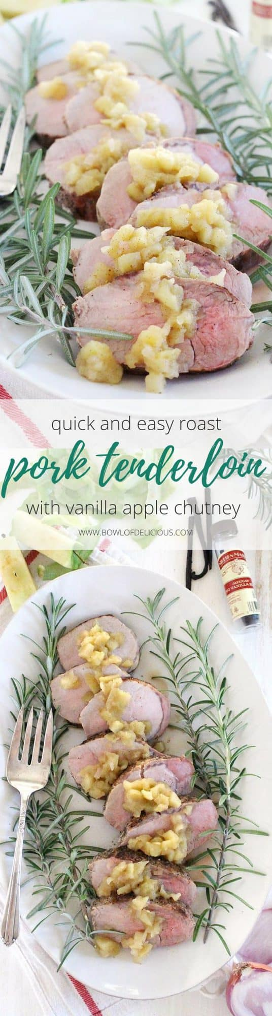 This Roast Pork Tenderloin with Vanilla Apple Chutney is an elegant yet simple, quick, and easy main dish that's perfect for your holiday feast or a weeknight dinner! The pork is juicy and the apple chutney, made with vanilla bean, is tart, slightly sweet, and earthy. #PorkTenderloin #AppleChutney #Paleo