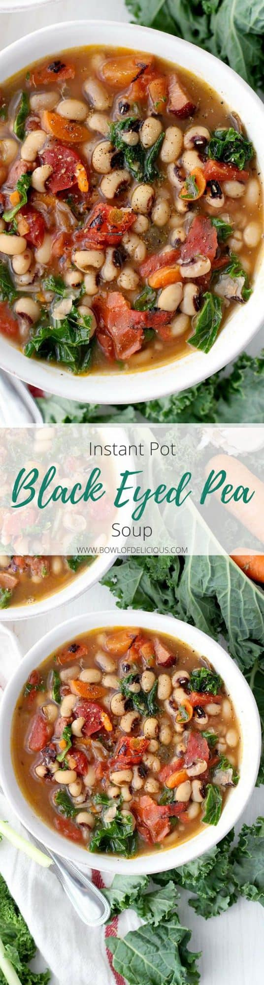This Instant Pot Black Eyed Pea Soup is an easy and fast way to serve traditional black eyed peas and greens on New Year's day for good luck and good health! Packed with veggies, healthy pulses, freezable, and gluten/dairy free. #blackeyedpeas #glutenfreesoup #instantpot #pressurecooker #freezermeals #newyearsrecipes