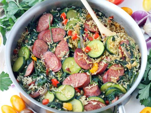 One Pot Mediterranean Turkey Sausage And Rice Bowl Of Delicious