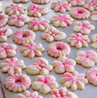 Pink Sugared Spritz Cookies for Gender Reveal