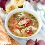 This Instant Pot Fish Stew is a delicious Mediterranean recipe year-round. It features sea bass, potatoes, and tomatoes, and it's flavored with fresh lemon juice, dill, and extra-virgin olive oil. It only takes 20 minutes to make in a pressure cooker!