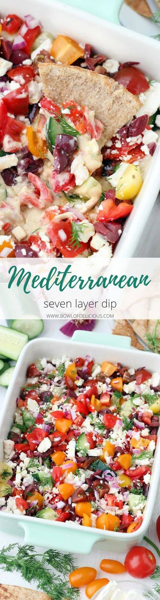 This Mediterranean Seven Layer Dip recipe is fresh and delicious! It's the perfect snack to serve with pita chips. No cooking required! It's packed with hummus, fresh veggies, olives, and feta and it's super easy to assemble. #MediterraneanDiet #Vegetarian #Appetizers #NoCookRecipes #SevenLayerDip #GlutenFreeSnacks