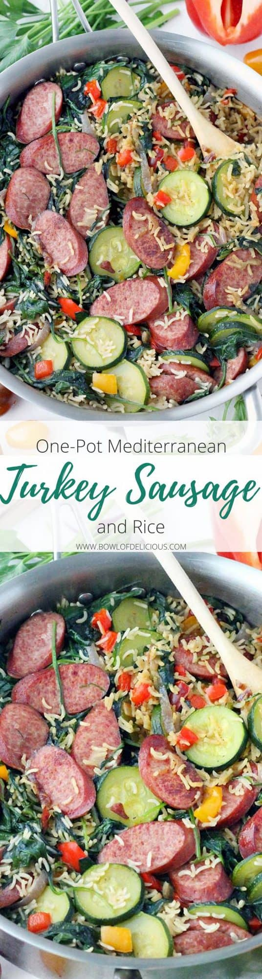 This one-pot Mediterranean Turkey Sausage and Rice is a veggie-packed, 30-minute dinner that the whole family will love! It's extra delicious topped with feta cheese, fresh herbs, and chopped sweet tomatoes. #MediterraneanDiet #OnePotMeals #TurkeySausage #KidFriendly #30MinuteMeals #EasyDinner #MediterraneanRecipe