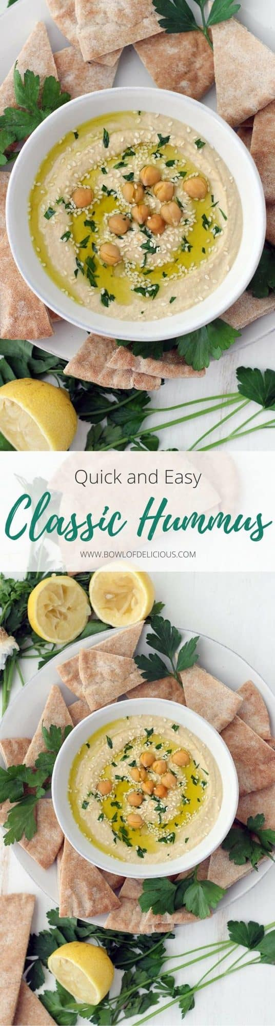 This Quick and Easy Classic Hummus recipe is a fast way to get super smooth, creamy hummus without using dry beans or removing the skins! It's high in fiber, protein, and healthy fats, and it makes a wonderful snack on pita bread or spread on sandwiches. #HummusRecipe #ClassicHummus #HealthySnackRecipes #ChickpeaRecipes #VeganRecipes #GlutenFreeSnacks