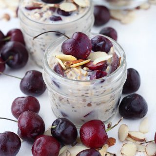 These Cherry Almond Overnight Oats taste decadent and creamy, but are completely dairy-free and naturally sweetened with honey or maple syrup. This recipe is great to make ahead for easy breakfasts all week long!