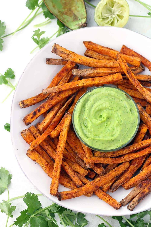 Crispy Baked Sweet Potato Fries with Avocado Cilantro Sauce - Bowl ...