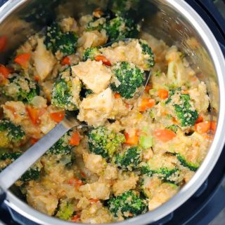This Instant Pot Chicken, Broccoli, and Quinoa has cheddar cheese melted into every bite. It's gluten-free, family-friendly comfort food made with whole grains, lean chicken breast meat, and packed with good-for-you broccoli.