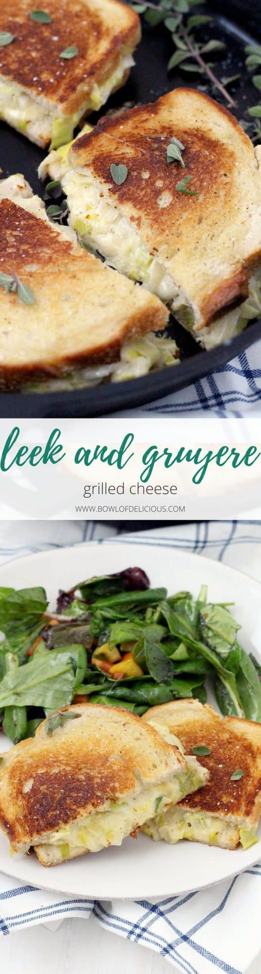This Leek and Gruyere Grilled Cheese recipe is rich and buttery. Every bite is infused with perfectly melted cheese and that subtle, savory, onion flavor leeks are known for. The perfect easy weeknight dinner with a simple salad or light soup!