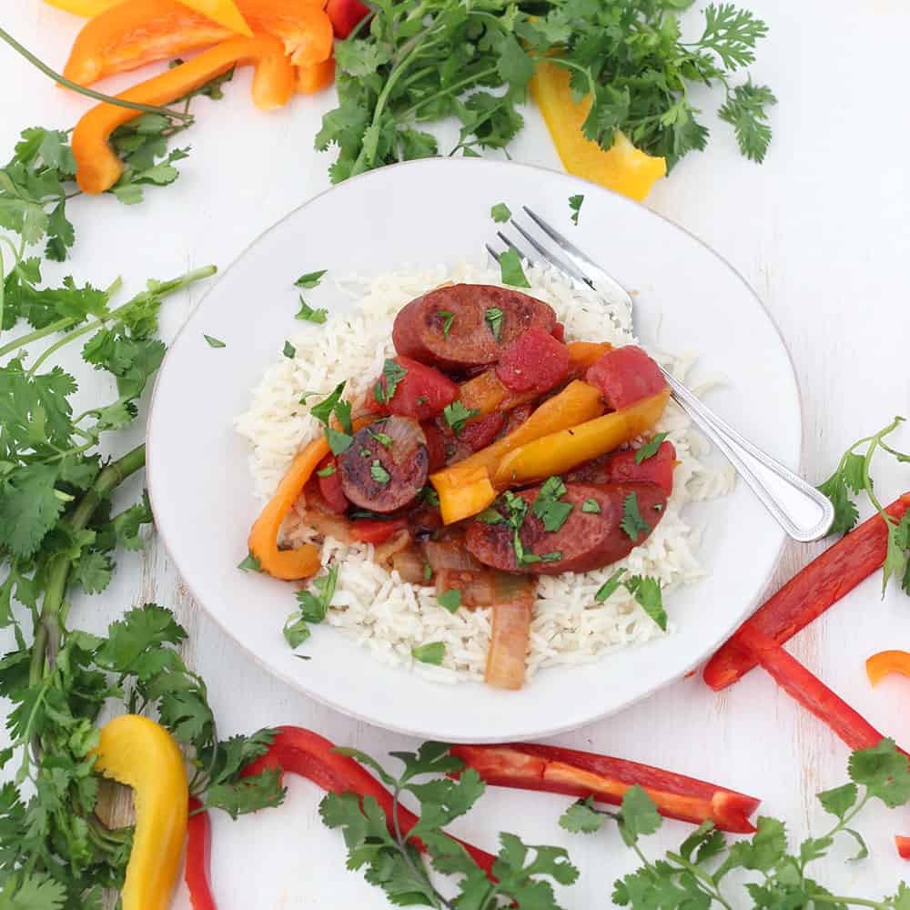 Sweet and Spicy Sausage with Peppers and Onions - Bowl of