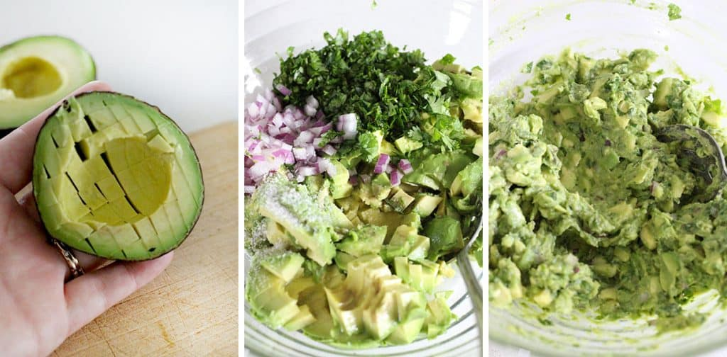 This simple guacamole recipe is truly the best- nothing but avocado, cilantro, lime juice, salt, and a little bit of red onion. The avocado is diced rather than mashed for the ideal chunky texture. Eat it with tortilla chips, on toast, on tacos or burritos, top eggs or fish or chicken with it, or eat with a spoon directly from the bowl!