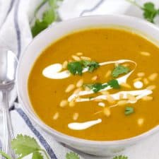 This vegan, nutrient-packed Butternut Squash and Red Lentil Soup recipe is easy, delicious, and packed with fiber, protein, and vitamins. Turmeric adds a warm, peppery flavor as well as immune-boosting properties.