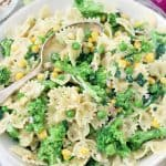 This creamy lemony vegetable pasta salad recipe is a cinch to make- the vegetables boil directly in the pasta water for less effort and clean up. Tossed in a light lemon garlic mayo and olive oil dressing, this is the perfect vegetarian make-ahead side or light meal.