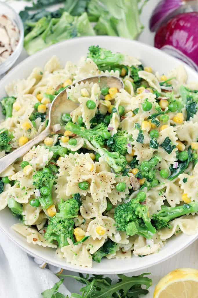 pasta salad vegetable creamy recipe vegetables lemony recipes vegetarian dressing oil olive lemon easy water dishes less boil light effort