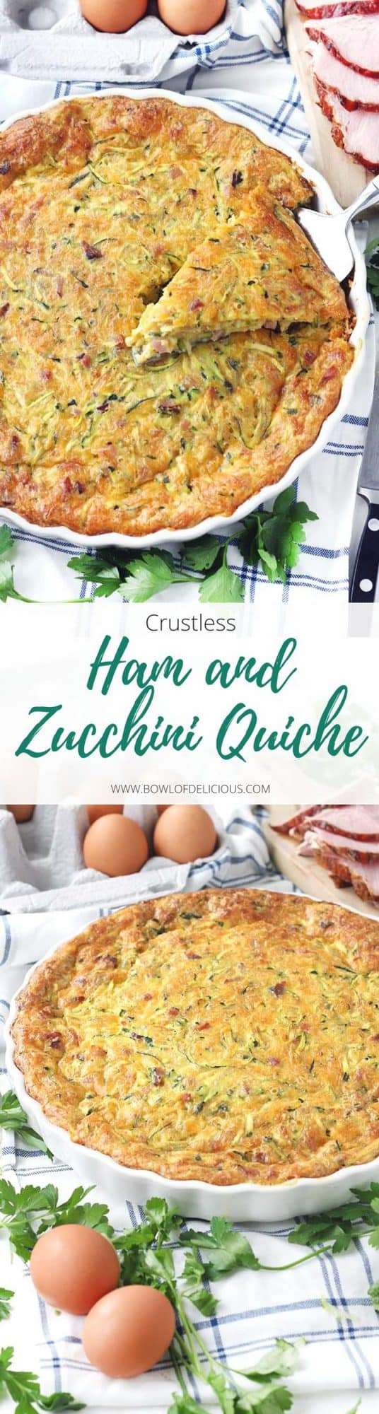 This crustless ham and zucchini quiche recipe is a great way to use up leftover ham  and feed a crowd easily! It can be served at room temperature so you can easily make it ahead of time.