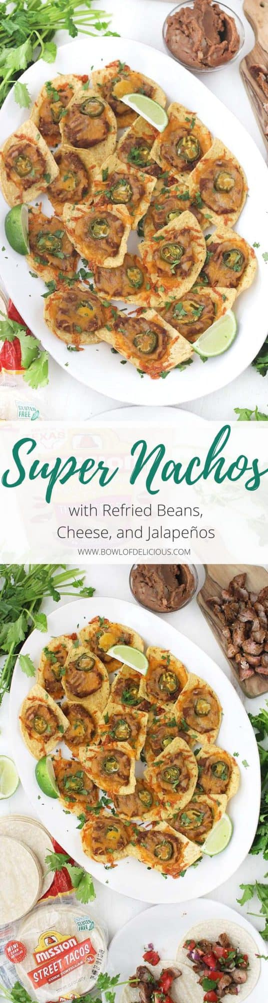 "These vegetarian ""Super"" Nachos with Refried Beans, Cheese, and Jalapeños are each topped individually and baked. They're the perfect appetizer to make for company and take only 5 minutes of prep!"