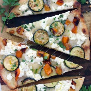 Sautéed Vegetable and Goat Cheese Naan Pizza