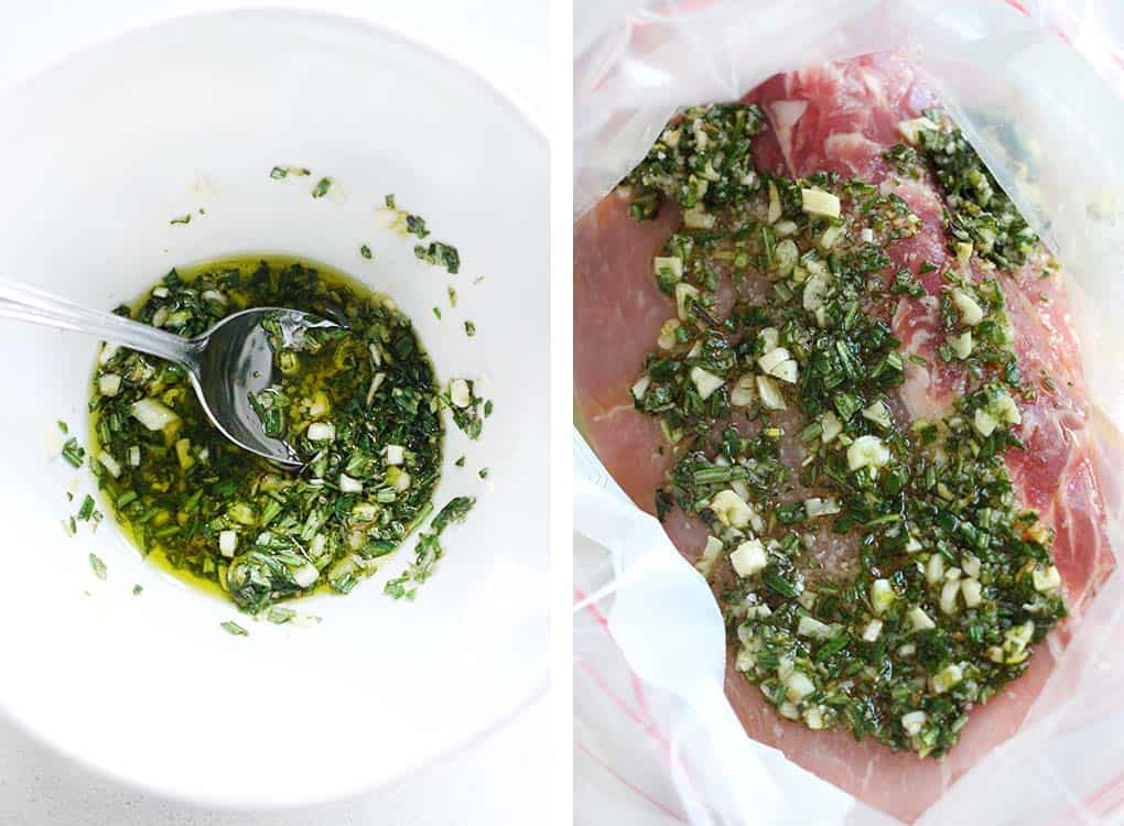 How to marinate a pork loin with rosemary, garlic, salt, and olive oil in a freezer bag