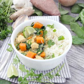 Green Chicken Curry with Sweet Potatoes and Spinach