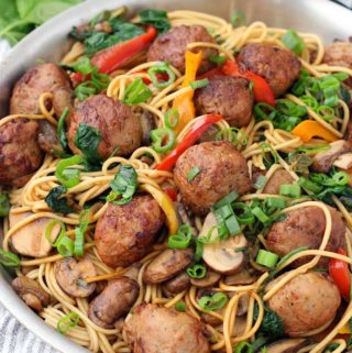 This veggie-packed Lo Mein with Chicken Teriyaki Meatballs recipe comes together in only 20 minutes! It's the perfect kid-friendly meal for busy weeknights.