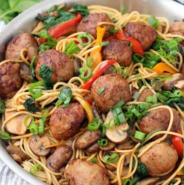 A skillet of teriyaki chicken meatball lo mein.