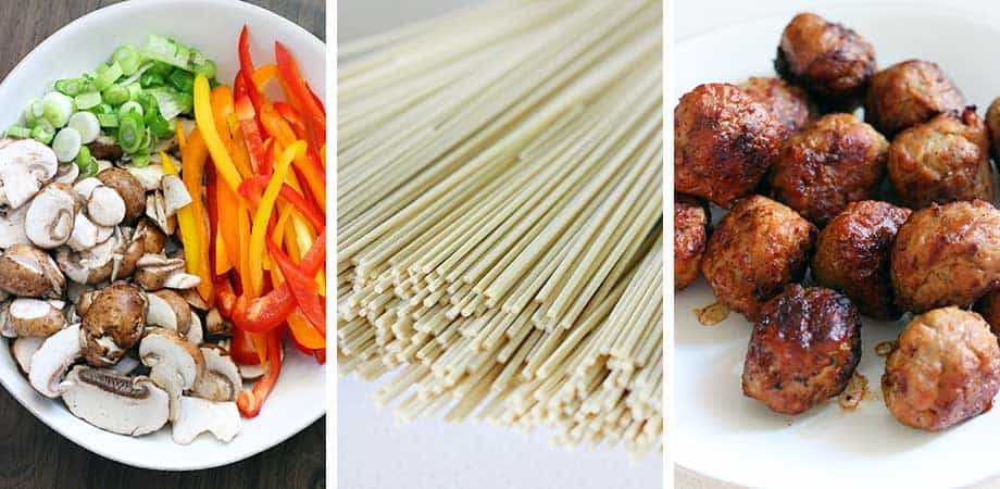 Photo collage with ingredients for meatball lo mein.