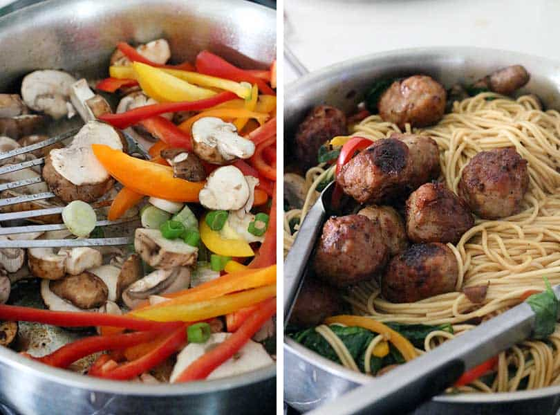 Process collage showing sautéing veggies and adding meatballs and noodles for lo mein.