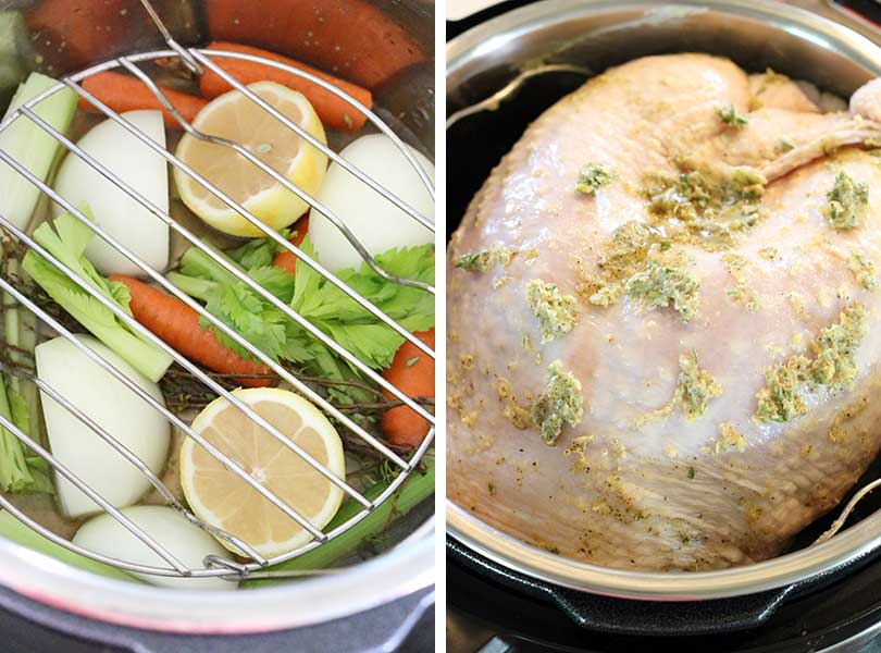 This Instant Pot Turkey Breast with Lemon and Thyme is a Thanksgiving game changer! Cook the whole thing in under an hour for juicy, tender bone-in, skin-on turkey breast.