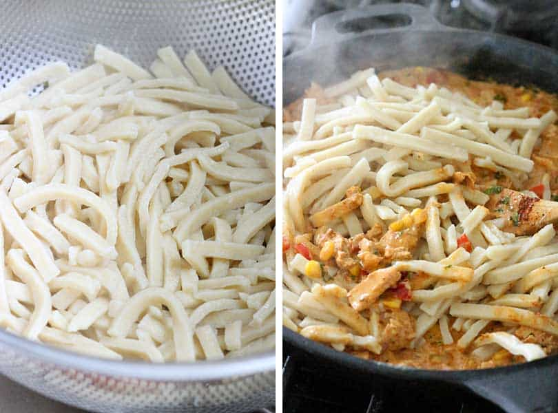 Reames Frozen Egg Noodles in a skillet for Tex Mex Tuna Noodle Casserole