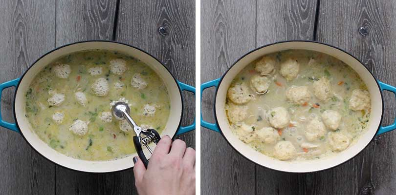 Using a cookie scoop to drop dumplings in chicken and dumplings soup