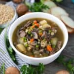 This Beef Barley Soup is packed with vegetables, including mushrooms, peas, potatoes, and carrots. It's hearty and packed with flavor, and using already cooked beef cuts down on cooking time.