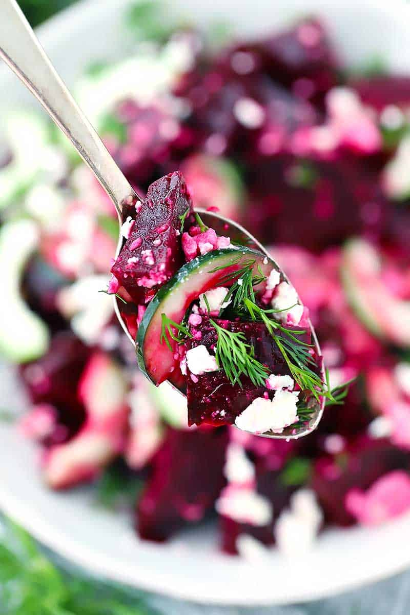 This Beet Salad with Feta, Cucumbers, and Dill takes only 10 minutes to make and is packed with sweet, salty, and tangy flavors. You can use roasted or canned beets for this easy vegetarian side.
