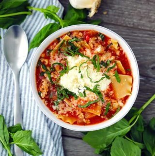 This Lasagna Soup has all the comforting taste of lasagna with half the amount of work! It's ready in 30 minutes and topped with a cheesy mix of ricotta, mozzarella, and parmesan.