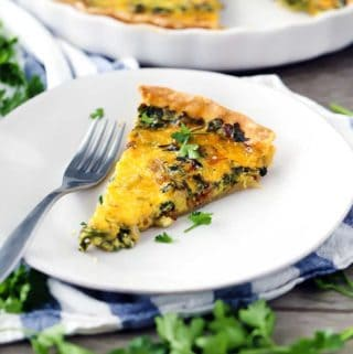 This Bacon and Swiss Chard Quiche, inspired by Julia Child, is easy to make in advance for brunch or dinner and has the most creamy, melt-in-your-mouth texture!