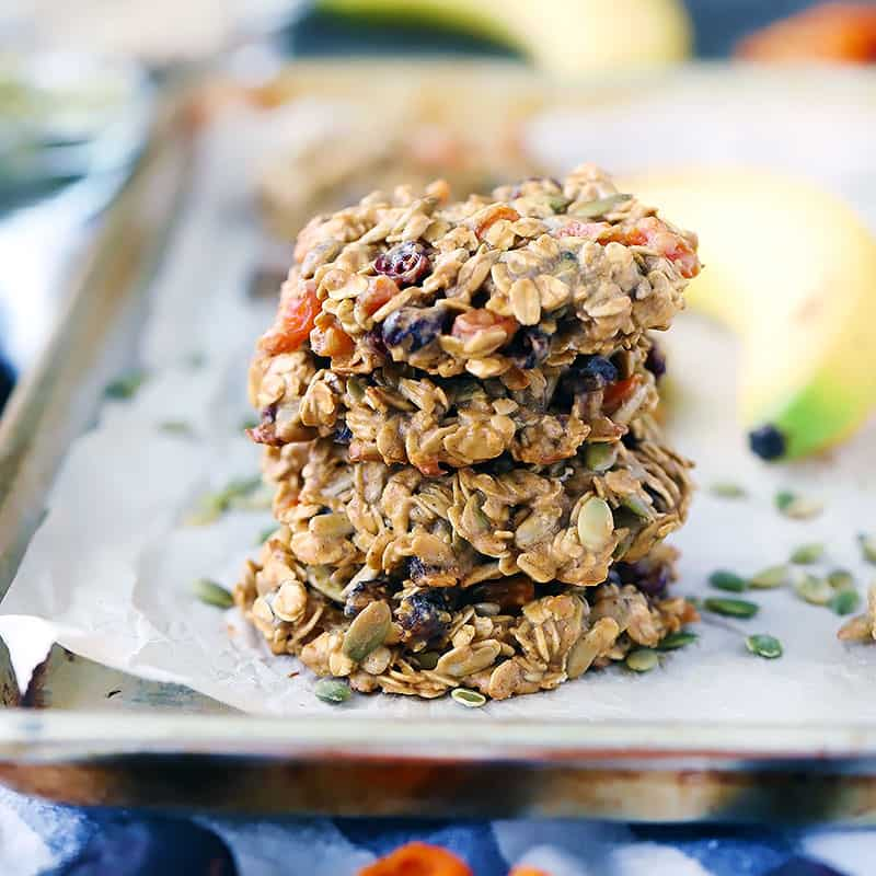 Square photo of a stack of breakfast cookies.