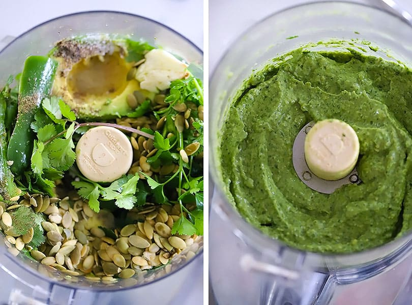 Process collage showing how to make avocado sauce in a food processor.