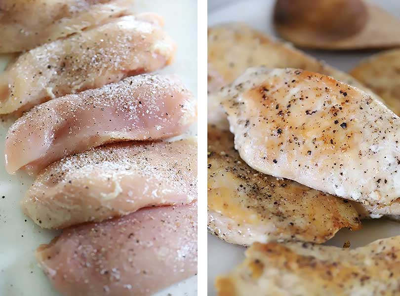 Raw chicken breast cutlets seasoned in kosher salt and black pepper then browned.