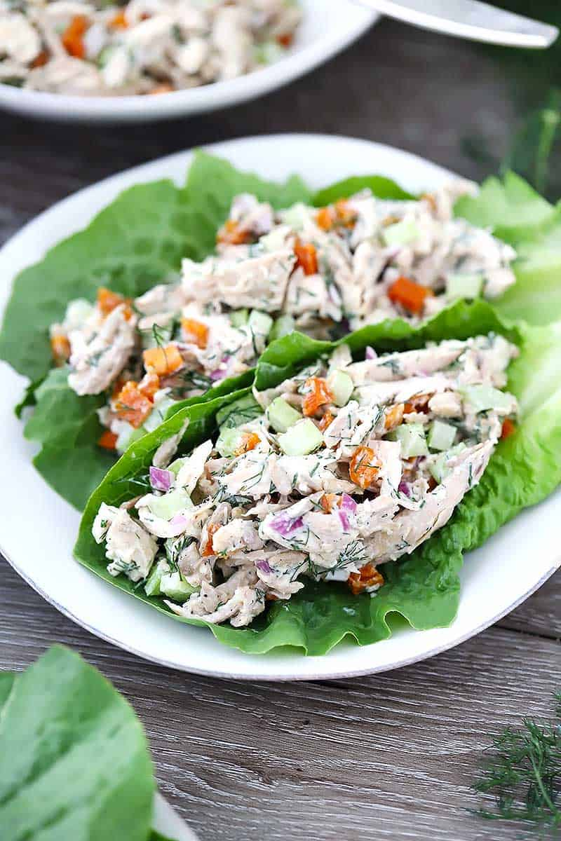 Two lettuce wraps of Apricot Dill chicken salad on a plate.