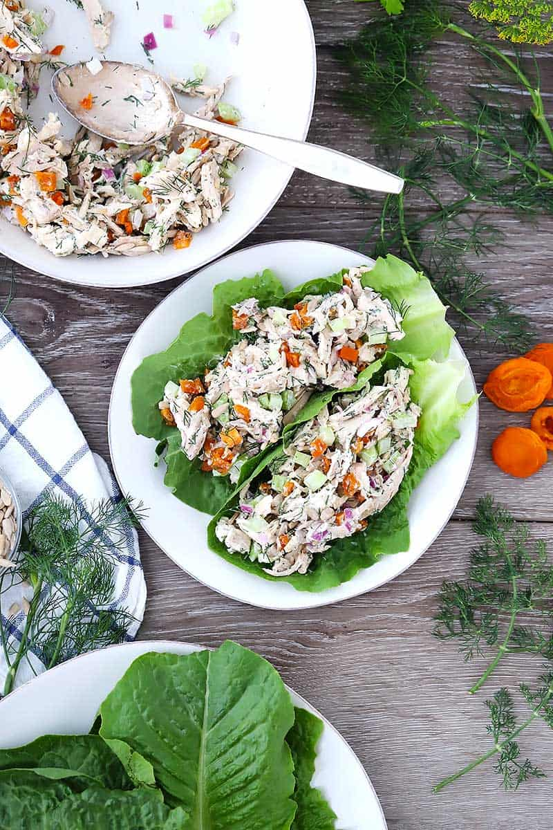 Chicken salad served on lettuce wraps.