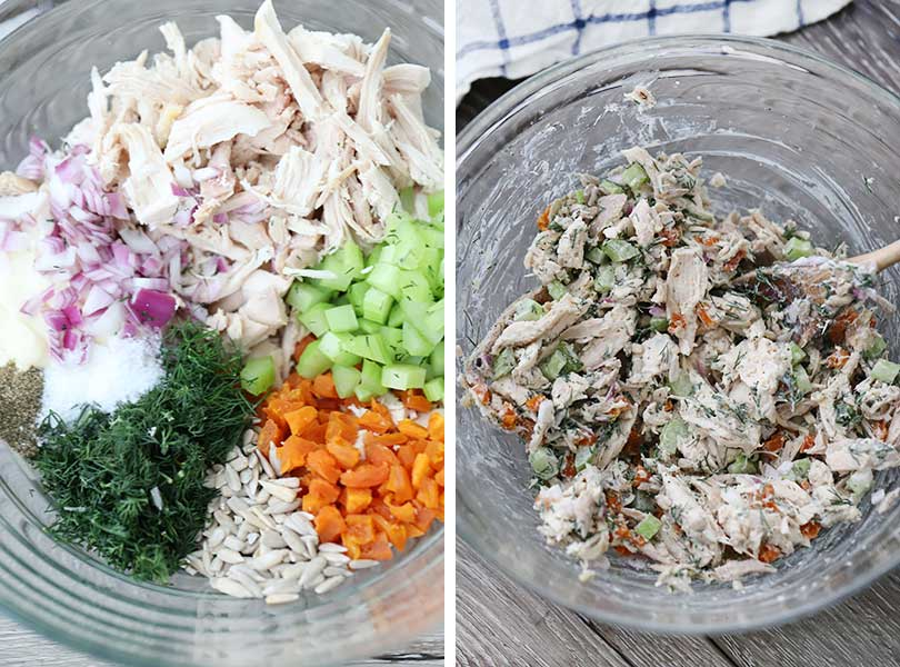 the ingredients for chicken salad before and after mixing.