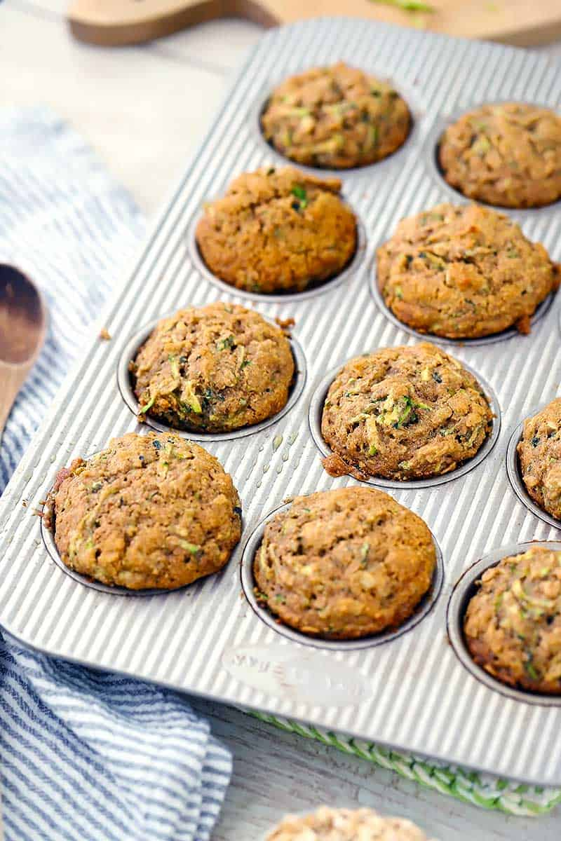 A pan of healthy zucchini muffins