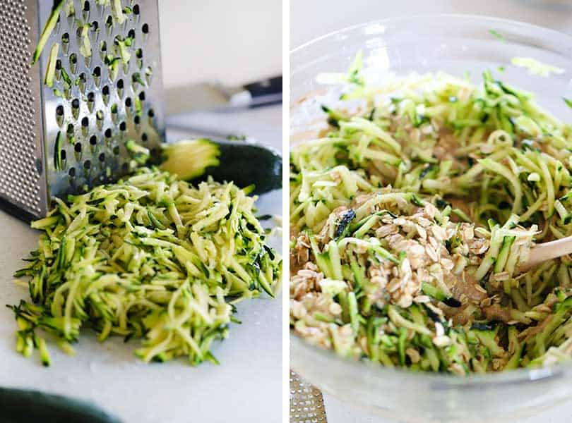 grated zucchini and a bowl with ingredients for zucchini muffins