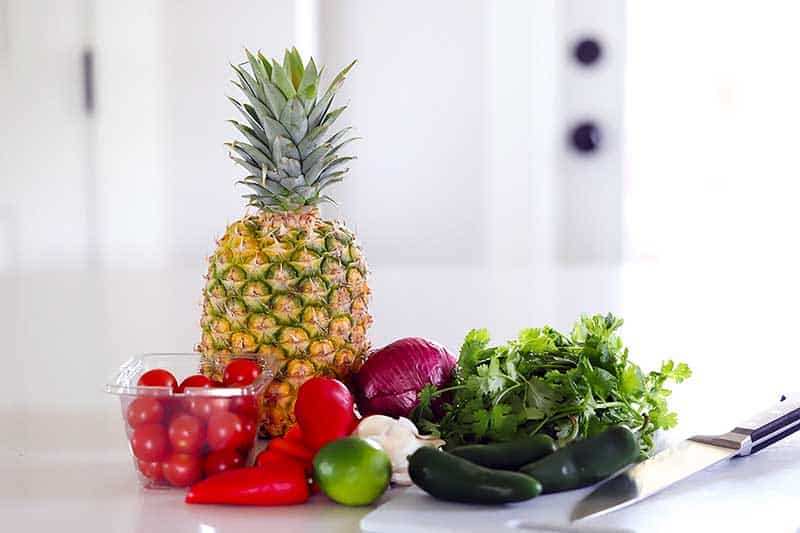 The ingredients for pineapple salsa