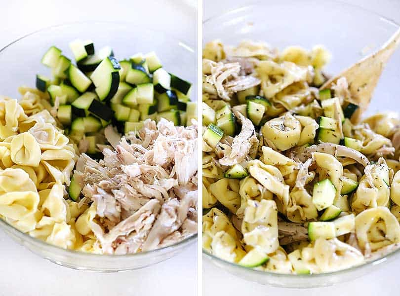 Zucchini, shredded chicken, and cheese tortellini mixed together with Italian dressing.