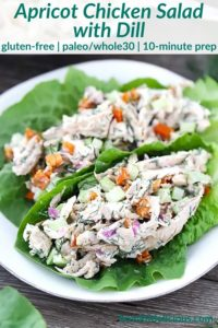 pinterest image for apricot chicken salad
