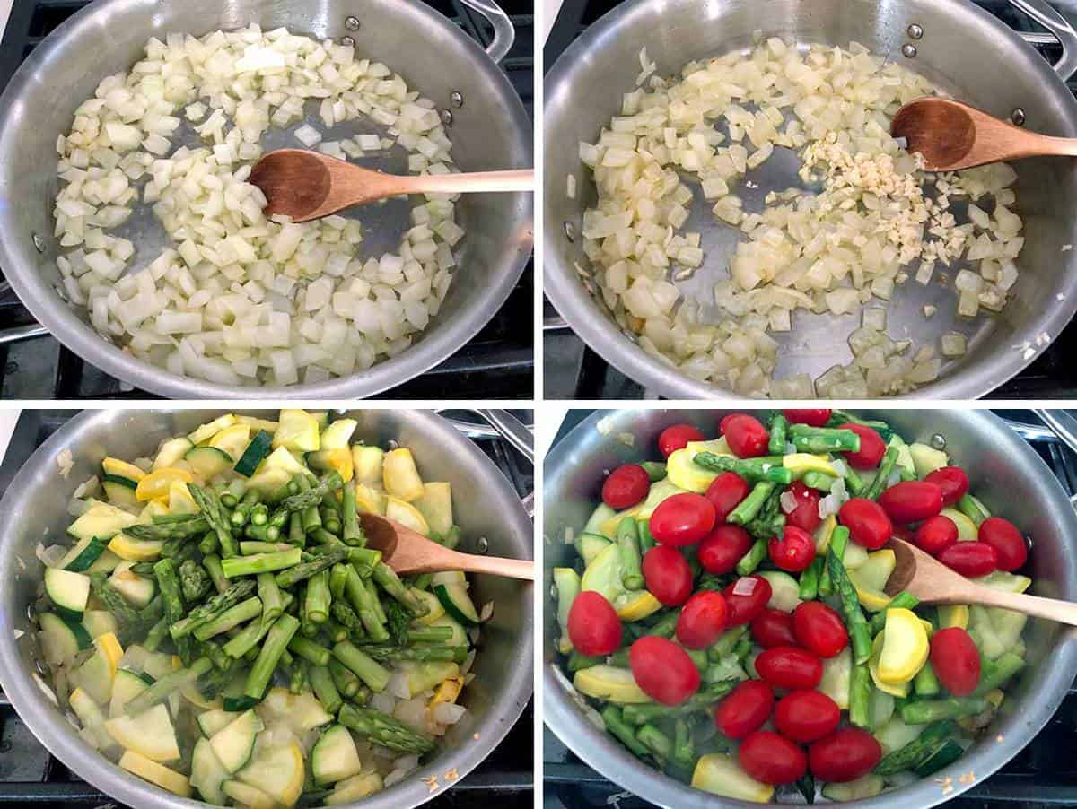sautéing onions, garlic, summer squash, zucchini, asparagus, and tomatoes in a skillet