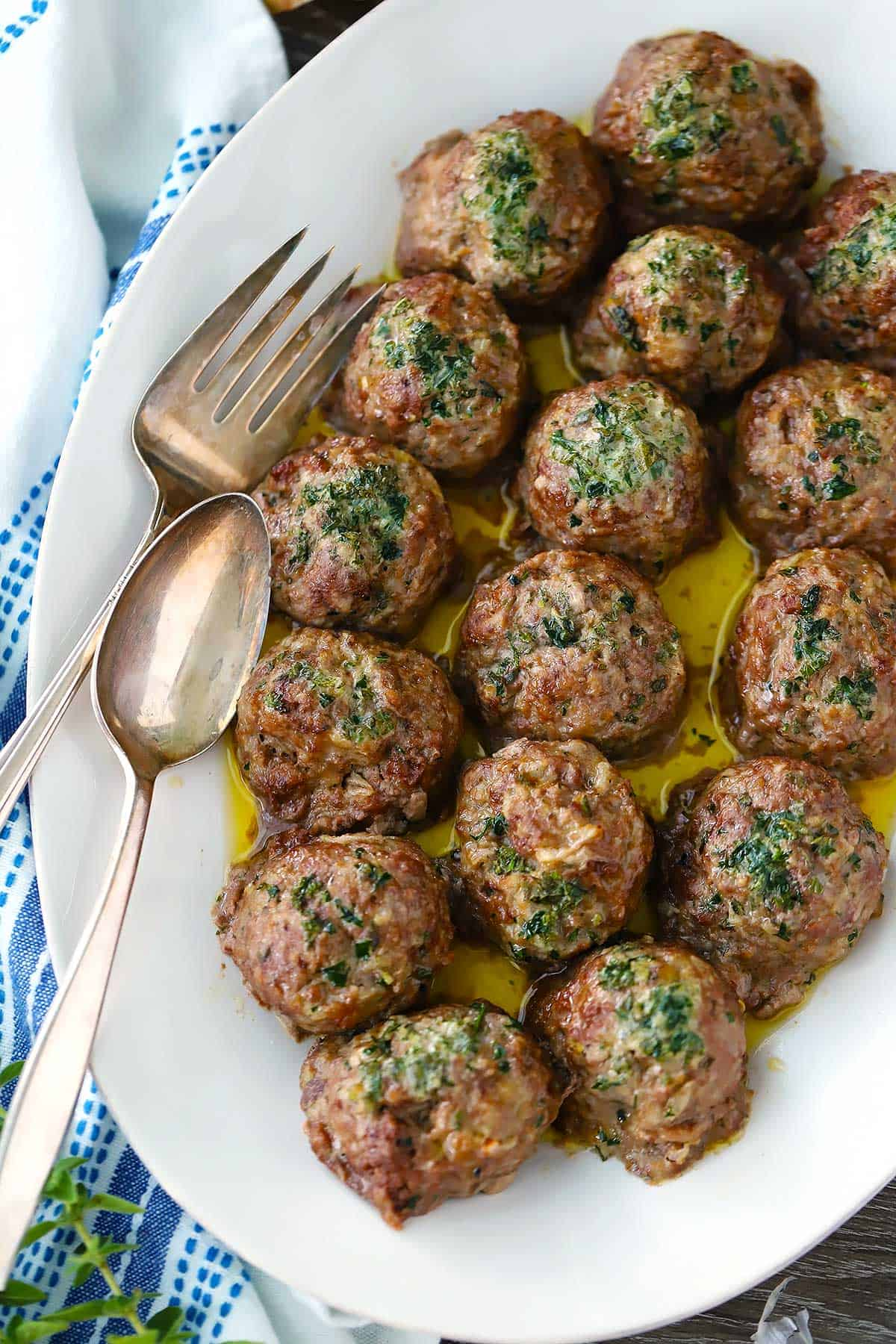 Keftedes Greek Meatballs With Herb Butter Bowl Of Delicious