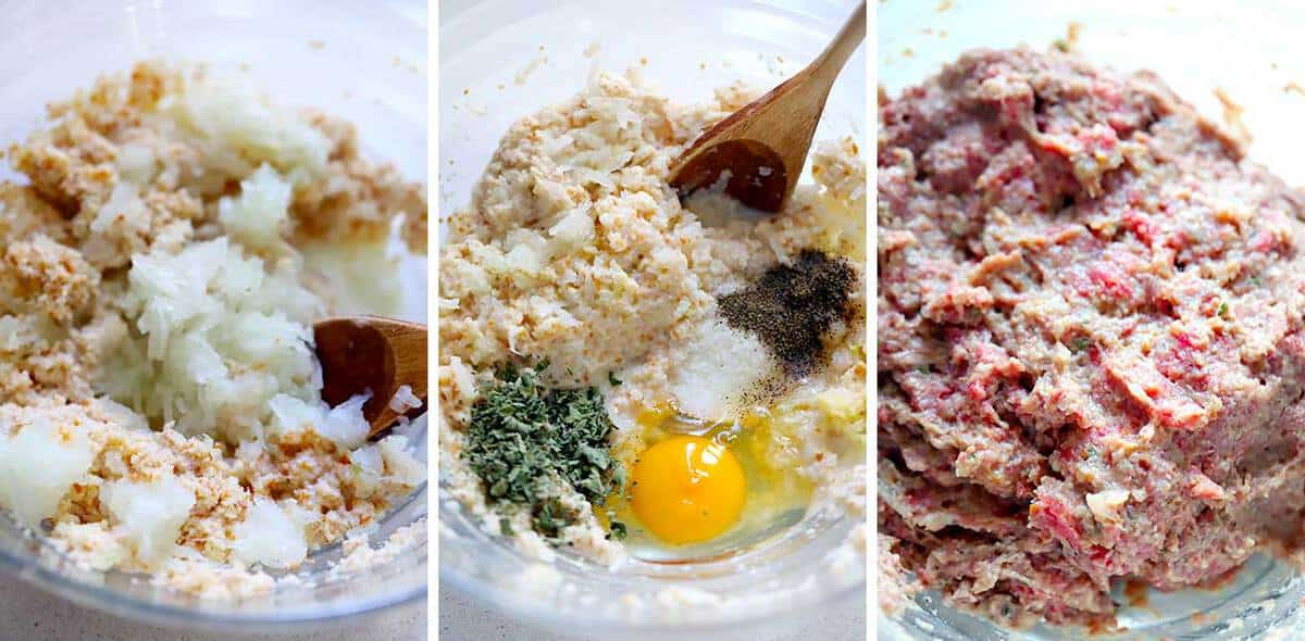How to mix the ingredients for Greek meatballs