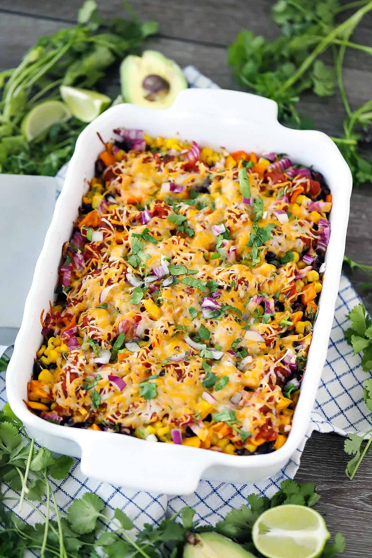 A casserole dish with Mexican lasagna