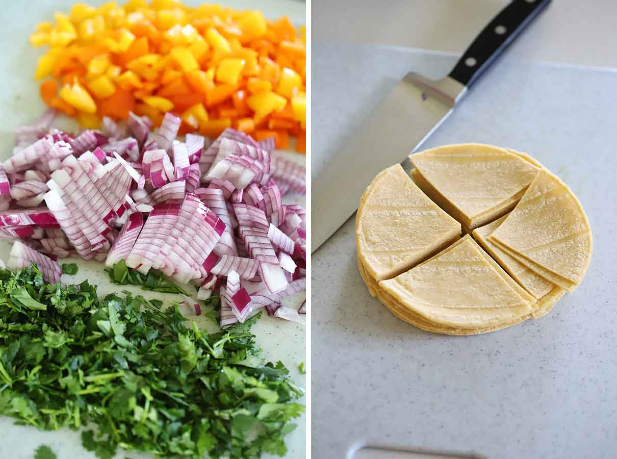Cilantro, red onion, and bell pepper diced, and corn tortillas quartered