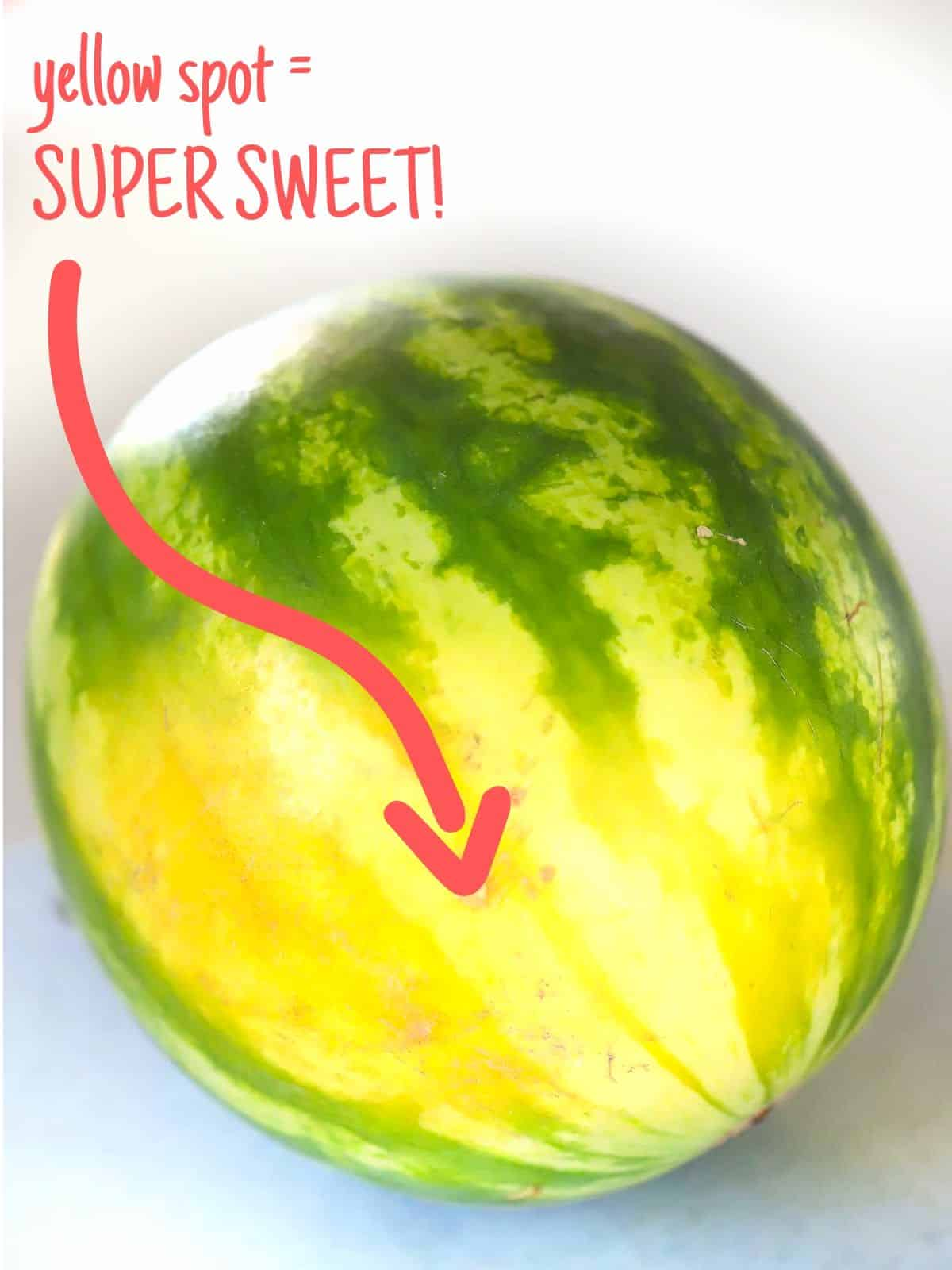 A yellow spot on a watermelon indicates how sweet and ripe it is
